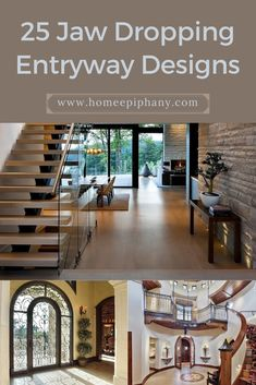 These 25 jaw dropping entryways show that no spot in your house should be left neglected. Rustic Wall Art, Diy Wall Art, Diy Wall Decor, Diy Home Decor, Reclaimed Wood Floors, Creative Wall Decor, Entry Way Design, House Entrance, Large Homes