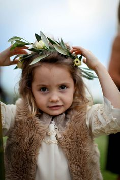 olive branch head wreath for flower girls is a must