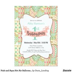 Pink and Aqua Hot Air Balloons Birthday Party Card - A cute birthday party invitation design created especially for little girls, this invitation features a background of pink and aqua hot air balloons. A pink Birthday Party ribbon banner announces your party in delightful style. Sold at Oasis_Landing on Zazzle.