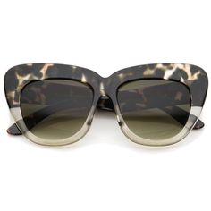 Oversize Printed Frame Wide Temple Square Lens Cat Eye Sunglasses 55mm
