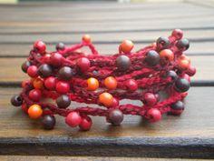 Crocheted wrap bracelet Beaded necklace Adjustable multi wrap bracelet Summer jewelry Boho necklace