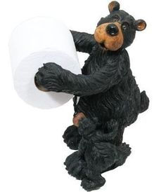 WD Willie Black Bear with Cub Free-Standing Toilet Paper Holder (Great Bathroom Decor) Unique Toilet Paper Holder, Free Standing Toilet Paper Holder, Paper Towel Holder, Towel Holders, Bear Habitat, Black Bear Decor, Gothic Themes, Bear Theme, Rustic Decor