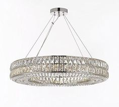 Crystal Spiridon Ring Chandelier Chandeliers Modern / Contemporary Lighting 32 Wide - Good for Dining Room, Foyer, Entryway, Family Room and More! This beautiful lighting fixture features Crystal Ring Chandelier, Crystal Chandelier Lighting, Wagon Wheel Chandelier, Modern Chandelier, Modern Crystal Chandeliers, Rectangular Chandelier, Modern Foyer, Gallery Lighting, Compact Fluorescent Bulbs