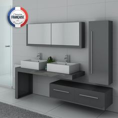 This beautiful double sink set is full of cupboards for a modern and tidy bathroom Bathroom Countertop Design, Bathroom Basin Cabinet, Wash Basin Cabinet, Hallway Furniture, Bathroom Furniture, Contemporary Bathrooms, Modern Bathroom, Washbasin Design, Dressing Table Design
