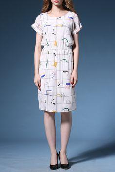 Slit Round Neck Chair Pattern Dress