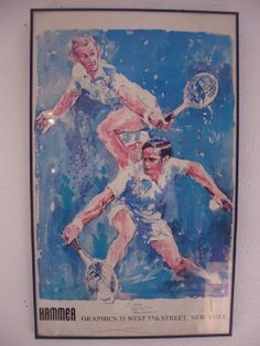 "Vintage Leroy Neiman Tennis Print. $900. Signed by Roy Emerson and Rod Laver. 22""L x 36""H."