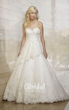 Ball gown wedding dress with tiered skirt features floral lace and beautiful strapless top. Exclusive designer ball gown wedding dresses by Essense of Australia Peplum Wedding Dress, Buy Wedding Dress, 2016 Wedding Dresses, Bridal Dresses, Gown Wedding, 2015 Dresses, Dream Wedding, Lace Wedding, Aqua Wedding