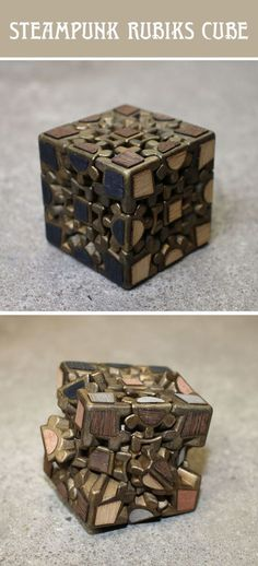 Steampunk Rubiks Cube How to modify a Rubiks Cube to give it an aged look. You can of course use any type of Rubiks Cube to do this mod, but I decided to go with a gear cube. Chat Steampunk, Design Steampunk, Arte Steampunk, Steampunk Gadgets, Steampunk Crafts, Steampunk Cosplay, Victorian Steampunk, Steampunk Fashion, Character Design