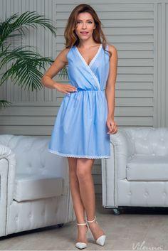 Літня сукня у горошок з мереживом • колір: блакитний • інтернет магазин • vilenna.ua