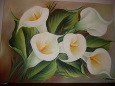 Calla Lillies, Calla Lily, Floral Drawing, Step By Step Painting, Arte Floral, Fabric Painting, Painted Rocks, Flower Art, Amazing Art