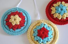 3 Granny Square Style Christmas Ornaments Holiday Home Decor