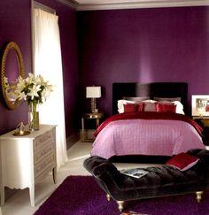 couleur de peinture pour chambre à coucher en pourpre et méridienne