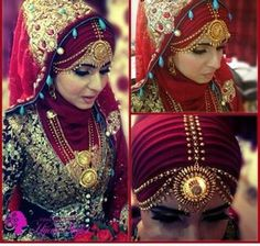 Beautiful Hijabi bride. Love how the tikka falls around her face.