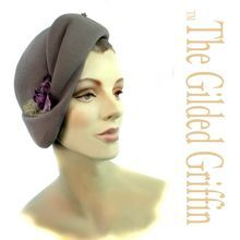 Romantic Vintage 1930s Hat Styled with Purple Azalea Trim on Ruby Lane
