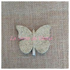horquilla Mariposa glitter oro, tocados, complementos pelo niñas. www.lacasitadevaleria.es Tela, Bobby Pins, Fascinators, Gold