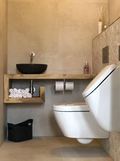 Toilet with urinal – Bouwton - Modern Bathroom Design Inspiration, Bad Inspiration, Home Room Design, Bathroom Interior Design, Minimalist Toilets, Small Toilet Room, Small Toilet Design, Concrete Bathroom, Downstairs Toilet