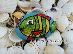 #taşboyama #balık #stonepainting #fish #cute #happy #rockpainting…