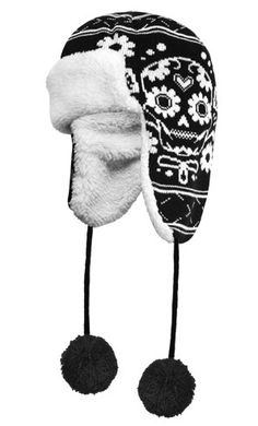 Los Muertos Trapper Hat Black by Sourpuss Clothing----I need this yo Sourpuss Clothing, Studs And Spikes, Trapper Hats, Skull Fashion, Headgear, Winter Wardrobe, Headdress, Beanie Hats, Hats For Women