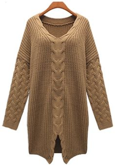 Love Oversized Thick Chunky Sweaters! Camel Plain Bat Sleeve Loose Knit Pullover Sweater
