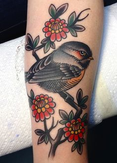 Adorable tattoo by Virginia Elwood! #neotraditional