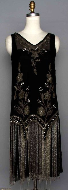 BEADED FLAPPER DRESS 1920s, Black silk w/ crystal beads & long beaded fringe.