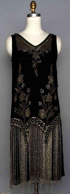 BEADED FLAPPER DRESS 1920s, Black silk w/ crystal beads & long beaded fringe.