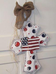 Burlap Cross Burlap Door Hanger American Flag
