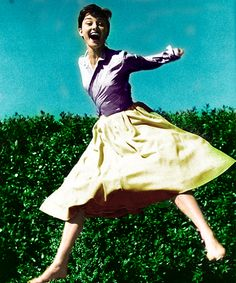 """Audrey Hepburn, photograph by Phillipe Halsman, 1955, from his famous """"Jump"""" series.  PY"""
