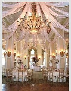 love, Love, LOVE the drapped ceiling! Premium White Tulle 600' Extra Wide Fabric