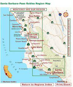 Central Coast California AVAs Cambria California, California Coast, Pismo Beach, Free Vacations, Vacation Trips, Coast Hotels, San Simeon, San Luis Obispo County, Printable Maps
