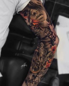 Sleeve Tattoos for Women Ideas and Designs for Girls, 100 Awesome Examples Of Full Sleeve Tattoo Ideas Art And. Sleeve Tattoos For Women Ideas And Designs For Girls. Arm Sleeve Tattoos, 3d Tattoos, Sleeve Tattoos For Women, Tattoo Sleeve Designs, Body Art Tattoos, Tattoos For Guys, Portrait Tattoo Sleeve, Flame Tattoos, Zodiac Tattoos