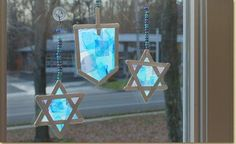 Dress up all areas of your home to celebrate Hanukkah, including your windows! Use Craft Sticks to form a Dreidel or Star of David shape, then cover in tissue paper. The see-through qualities of the tissue paper will allow the light to pass through to make a beautiful sun catcher!