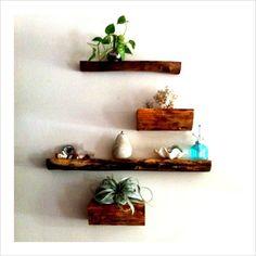 log shelves, pretty