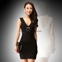 Herve Leger Black Slim Sexy Bandage Dress M19B