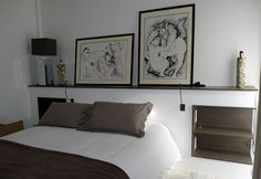 Modern Master Bedroom, Bedroom Loft, Orac Decor, Headboard With Shelves, Linen Sofa, Clever Design, Best Interior, Beautiful Interiors, White Walls
