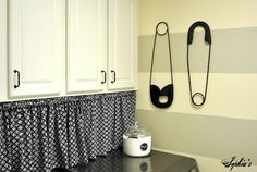 curtain idea to hide top of washer/dryer on tension rod or help up under shelf or cabinet,  pins are from Ballard