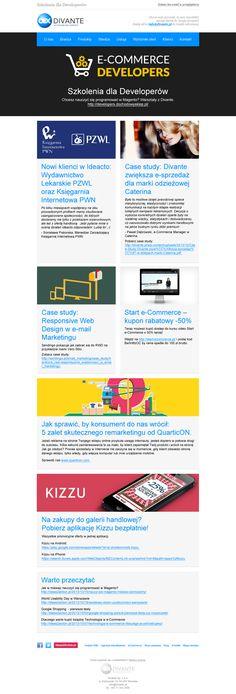 Projekt newslettera zgodny z nowym wyglądem strony Divante. Kilka case study oraz propozycje ciekawych artykułów. / #ecommerce #e-commerce #newsletter #emailmarketing