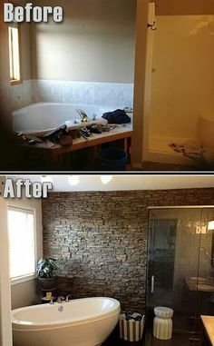 Amazing bathroom before and after love the remodeled shower and separate tub. DYI