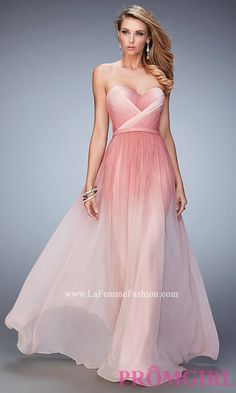 Strapless La Femme Long Ombre Dress Style: LF-22156