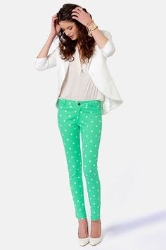 Check it out from Lulus.com! We know you wouldn't ever give up your favorite jeggings, but we just HAD to ask about your Penny for Your Dots Green Polka Dot Jeggings! Stretchy cotton twill has a white polka dot pattern over bright mint green with a medium-rise fit and skinny tapered legs. Faux front pockets and real back patch pockets. Hidden zip-fly with top button closure. Unlined. Model is wearing a size small. 98�0Cotton, 2�0Spandex. Machine Wash Cold. Imported.