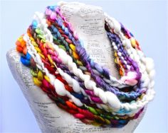 All Things Beautiful Scarf Rainbow Colors Chunky Knit Art Yarn Soft Bamboo Merino Art Yarn on Etsy, $99.00