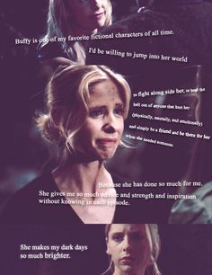 This is such a perfect quote on the effect Buffy has had. <3 Sarah Michelle Gellar, Nerd Love, Buffy Summers, Joss Whedon, Geek Out, Buffy The Vampire Slayer, Fangirl, Sherlock, Sarah Wood