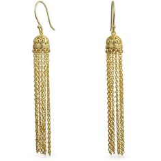 Gold Plated Silver Filigree Dome Dangle Long Chain Earrings ($43) ❤ liked on Polyvore featuring jewelry, earrings, dangle-earrings, yellow, dangle earrings, long tassel earrings, filigree jewelry, tassle earrings and filigree earrings