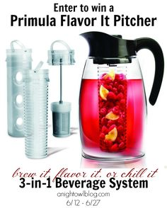 WIN a Primula Flavor It Pitcher! Brew it, flavor it, or chill it in the new Flavor It Pitcher from Primula. Whether you're brewing hot or cold coffee or tea, infusing fresh fruit flavors into water, infusing mint or lavender into lemonade, or chilling mojitos for entertaining - Flavor It is an eco-friendly alternative to infused bottled beverages.