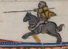 Monkey jousting, detail on text page from Arthurian Romances, French, about 1275-1300. Beinecke Library