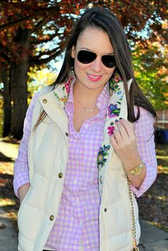 Joules vest and gingham Oxford <<cute!