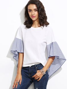 12$  Buy here - http://dii30.justgood.pw/go.php?t=5912 - White Striped Asymmetric Bell Sleeve Top 12$