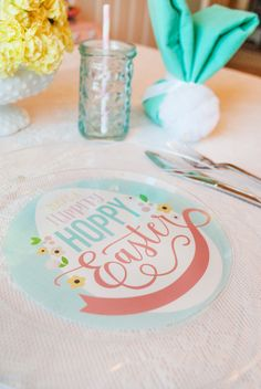 Free Printable Easter Plate Backer - simply buy clear plastic plates and slip this backer under it for a fun, festive look! #easter