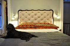 DIY tufting with recycled wood headboard