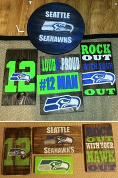 Hand Painted Seahawks signs